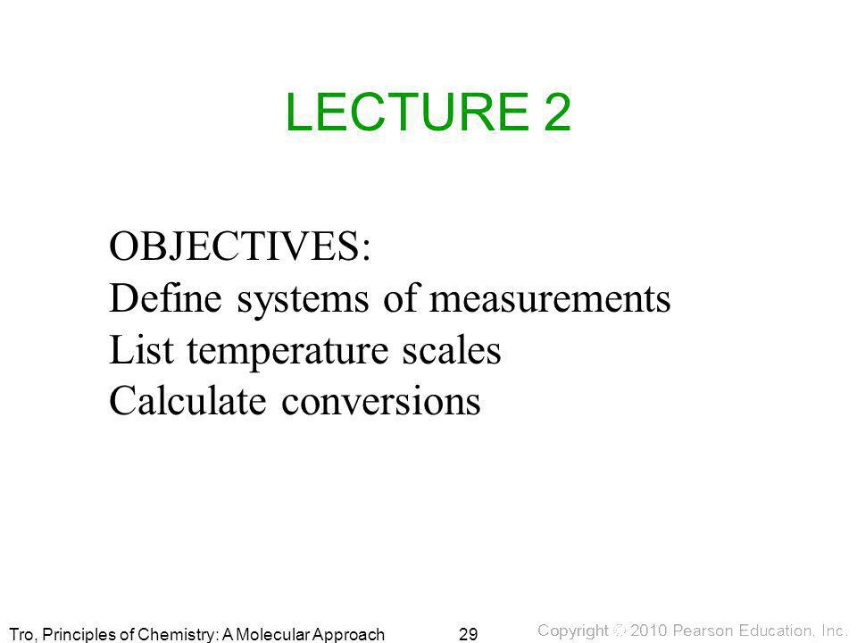 LECTURE 2 OBJECTIVES: Define systems of measurements