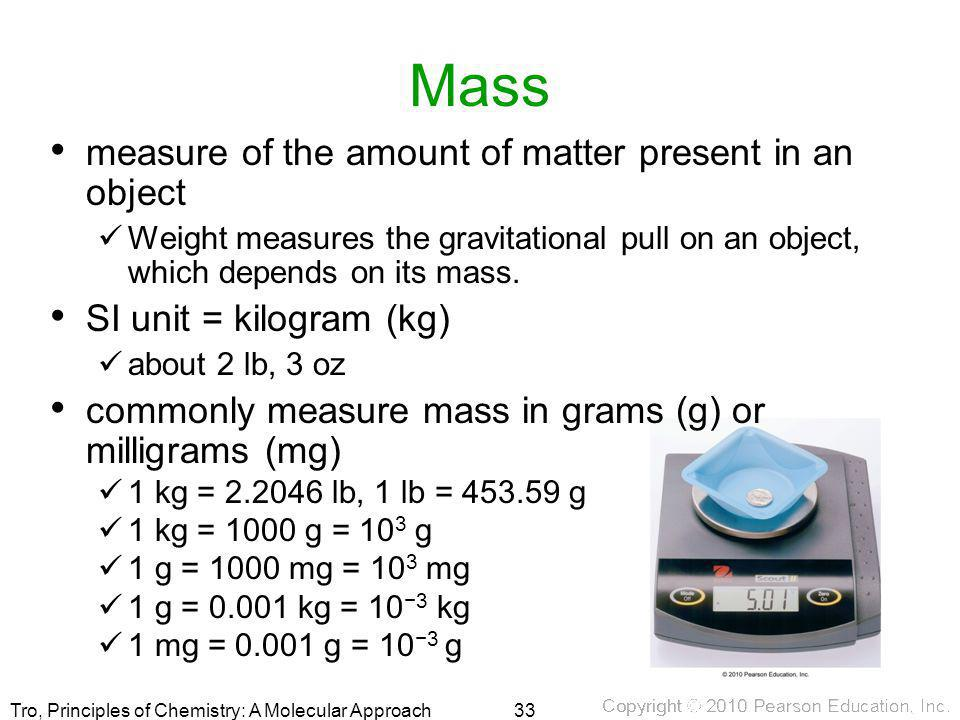 Mass measure of the amount of matter present in an object