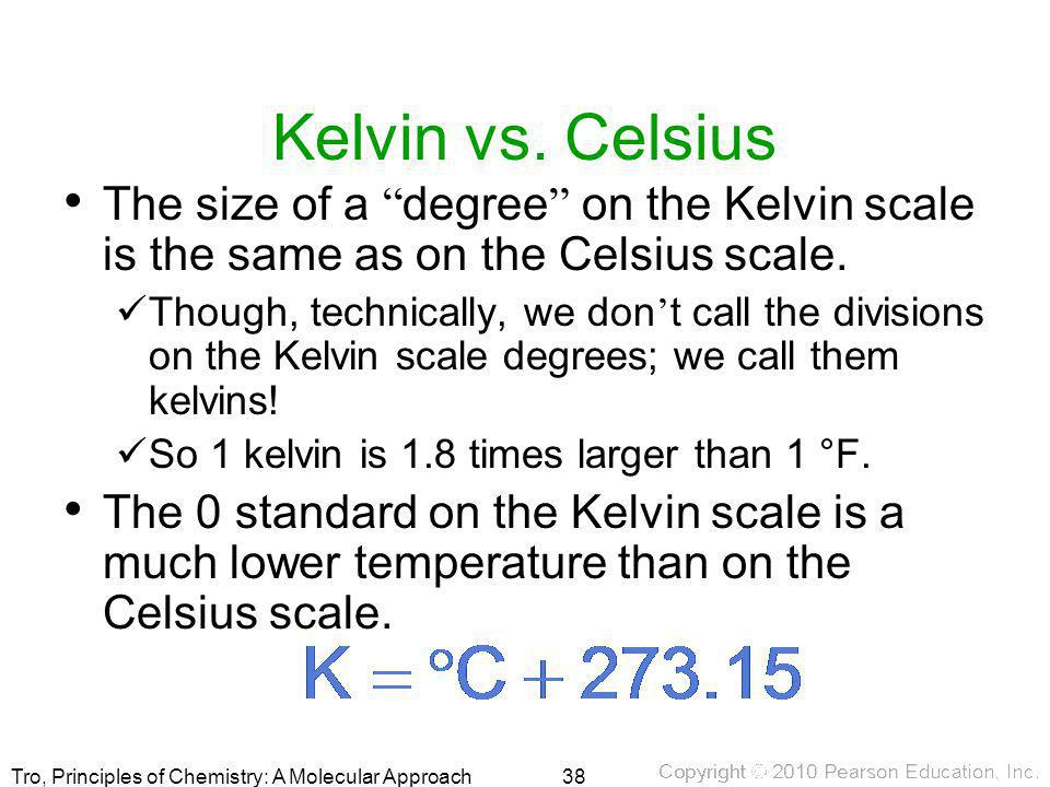 Kelvin vs. Celsius The size of a degree on the Kelvin scale is the same as on the Celsius scale.