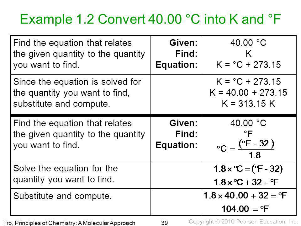 Example 1.2 Convert 40.00 °C into K and °F