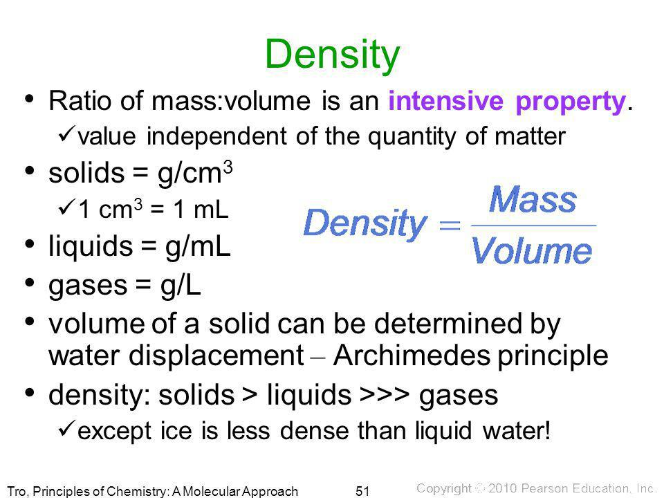 Density solids = g/cm3 liquids = g/mL gases = g/L