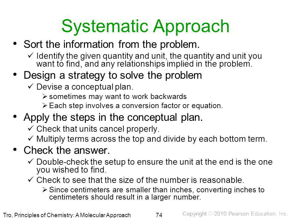 Systematic Approach Sort the information from the problem.