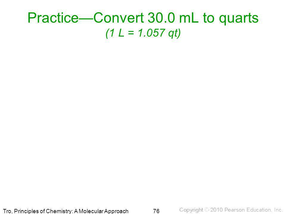 Practice—Convert 30.0 mL to quarts (1 L = qt)