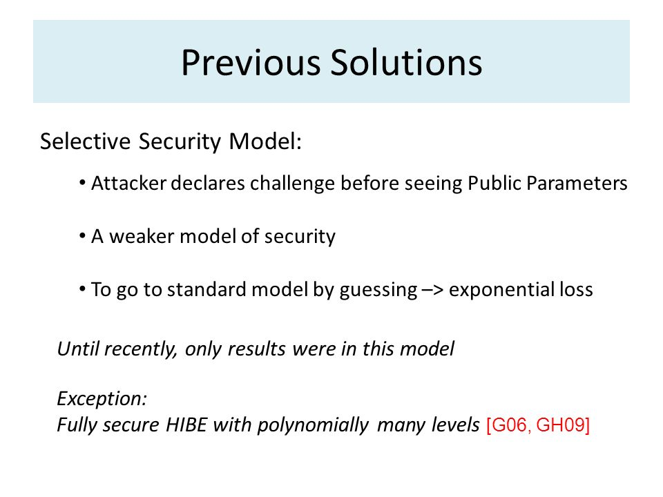 Previous Solutions Selective Security Model: