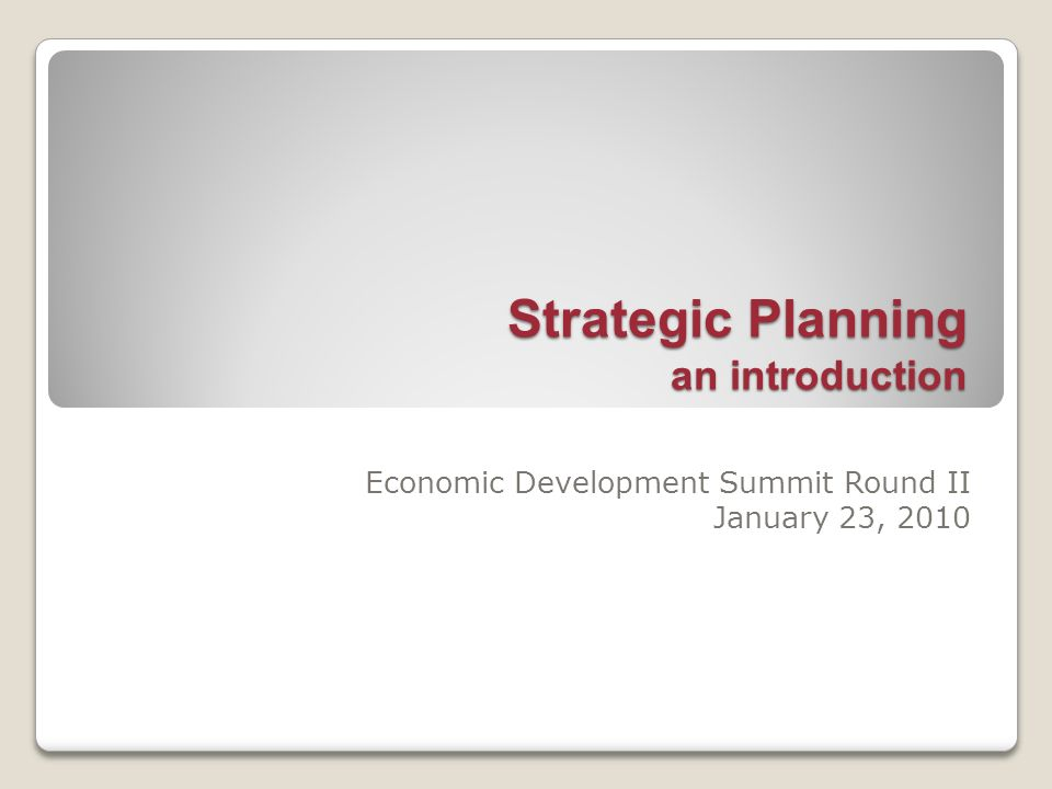 Strategic Planning an introduction