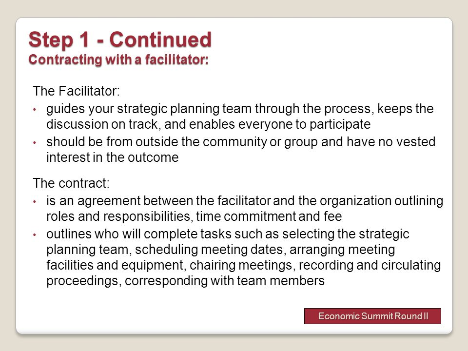 Step 1 - Continued Contracting with a facilitator: