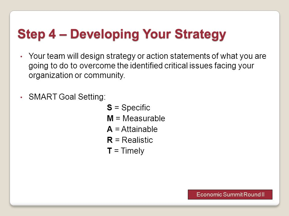 Step 4 – Developing Your Strategy