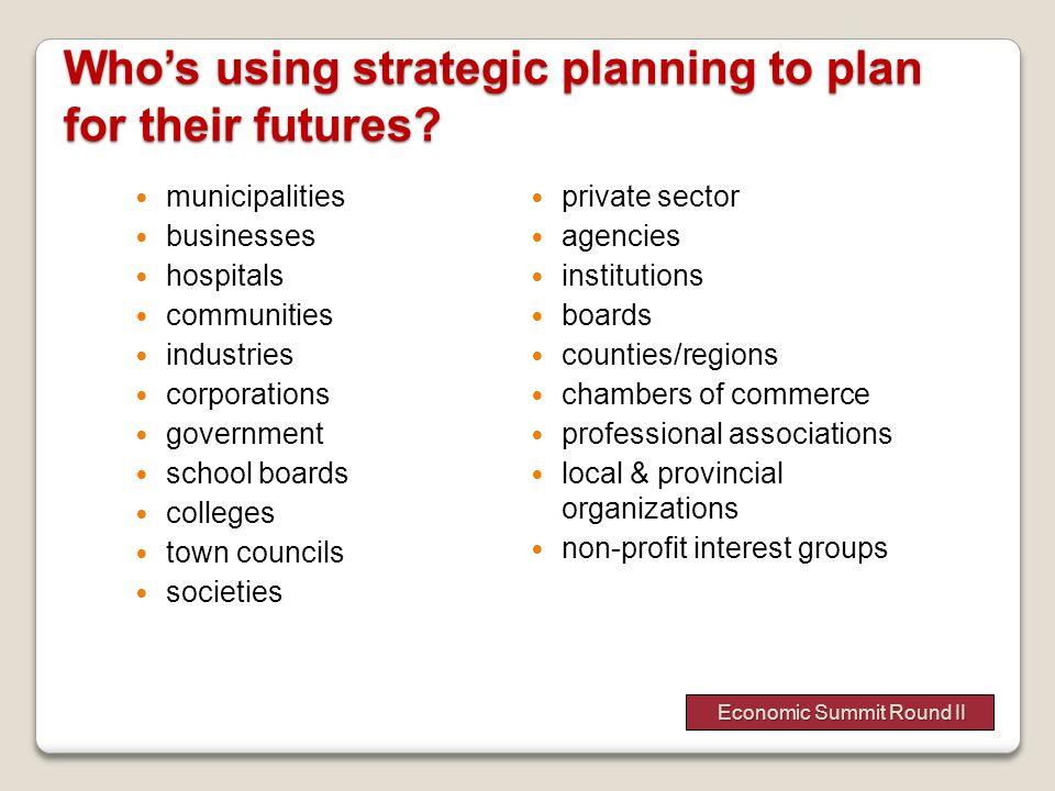 Who's using strategic planning to plan for their futures