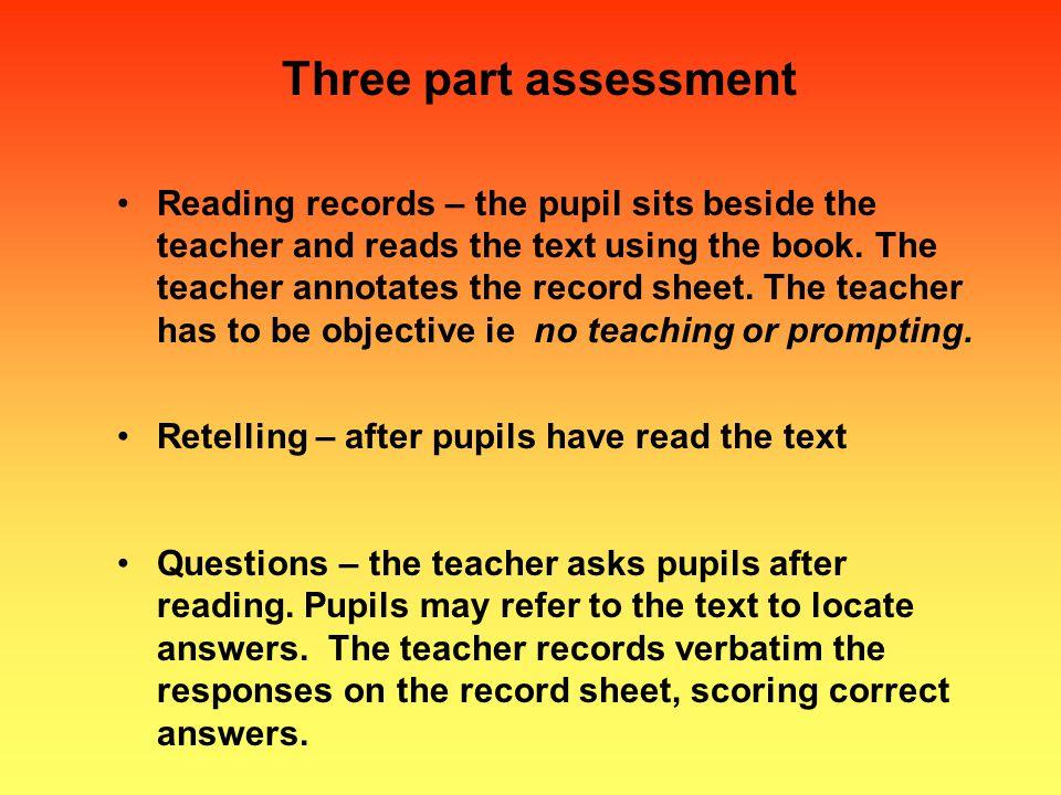 Three part assessment