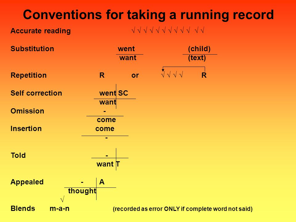 Conventions for taking a running record