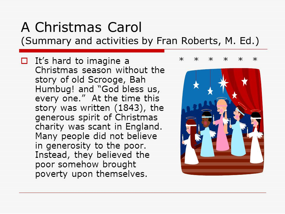 A Christmas Carol (Summary and activities by Fran Roberts, M. Ed.)
