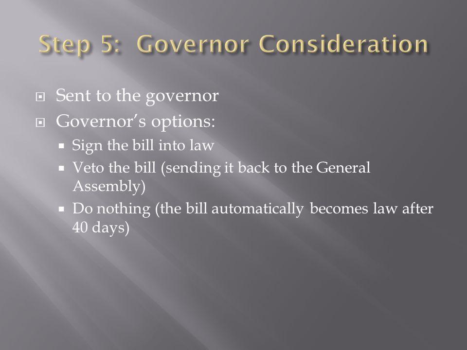 Step 5: Governor Consideration