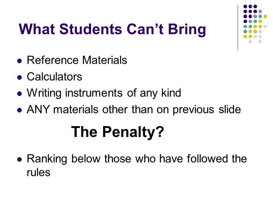 What Students Can't Bring