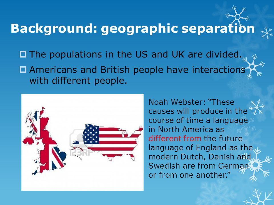 Background: geographic separation