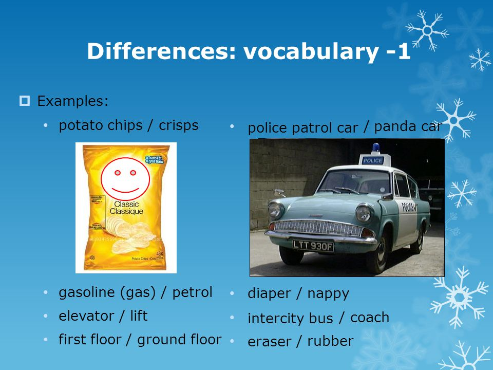 Differences: vocabulary -1
