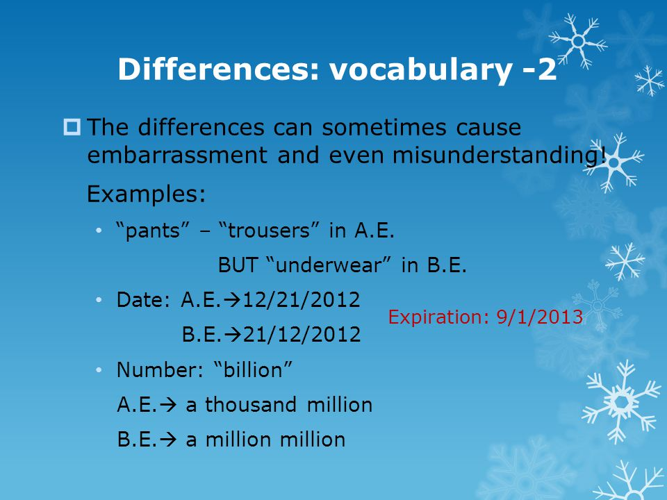 Differences: vocabulary -2