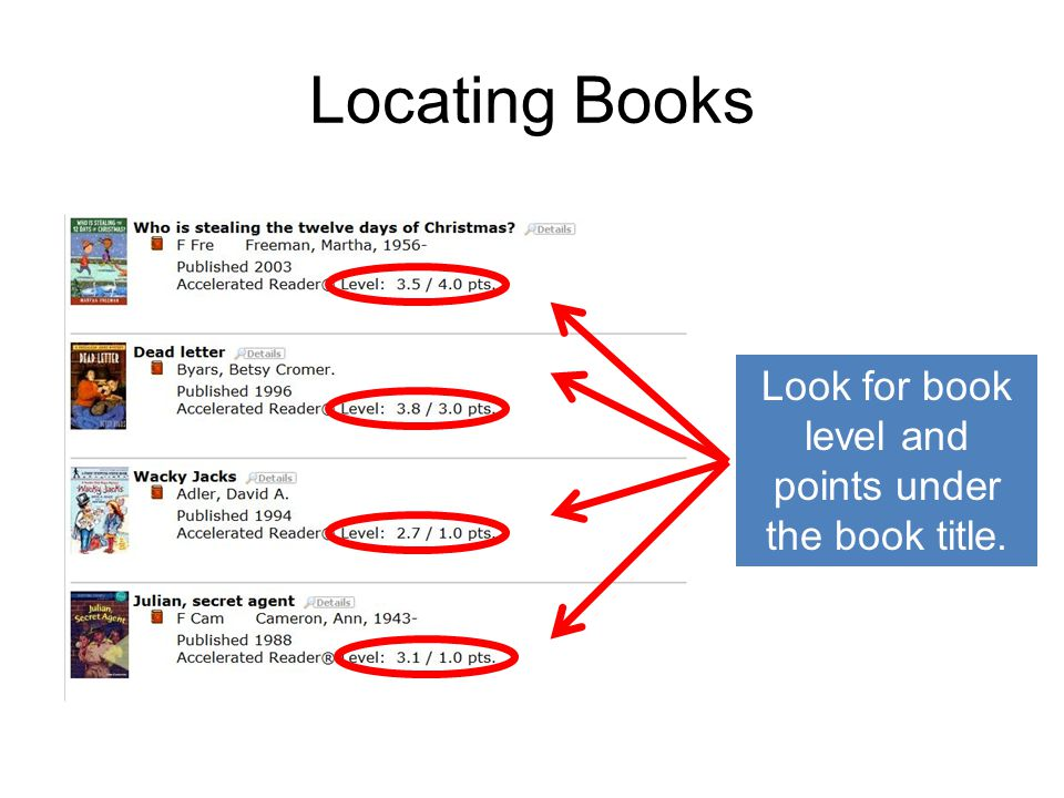 Look for book level and points under the book title.
