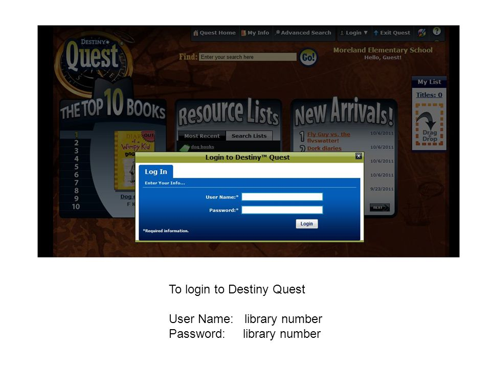 To login to Destiny Quest