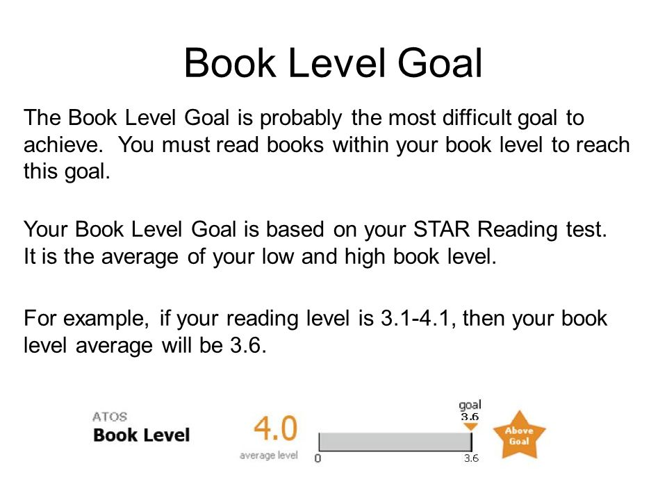 Book Level Goal The Book Level Goal is probably the most difficult goal to achieve. You must read books within your book level to reach this goal.