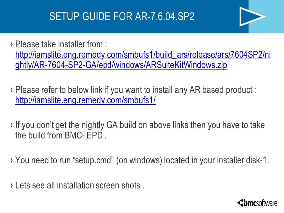SETUP GUIDE FOR AR SP2