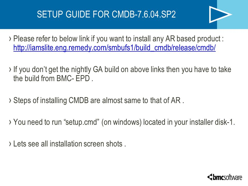 SETUP GUIDE FOR CMDB-7.6.04.SP2