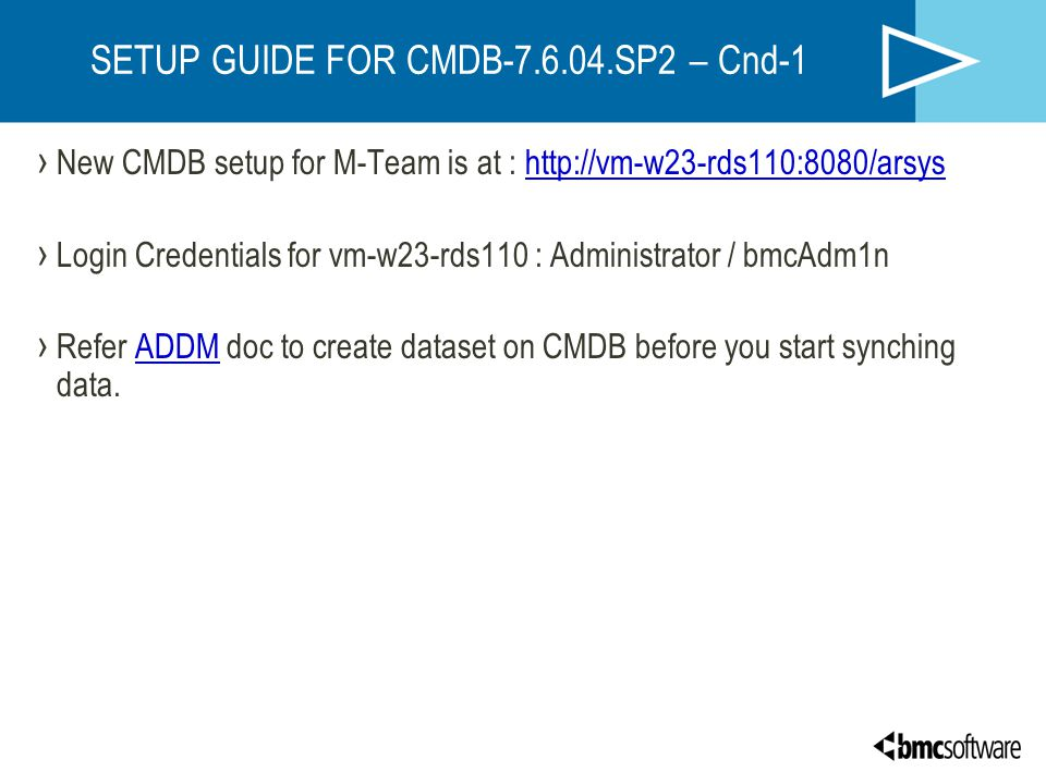 SETUP GUIDE FOR CMDB SP2 – Cnd-1