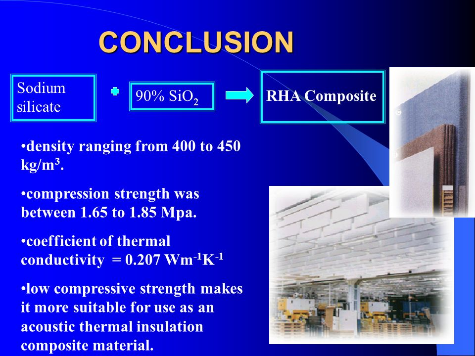 CONCLUSION Sodium silicate 90% SiO2 RHA Composite