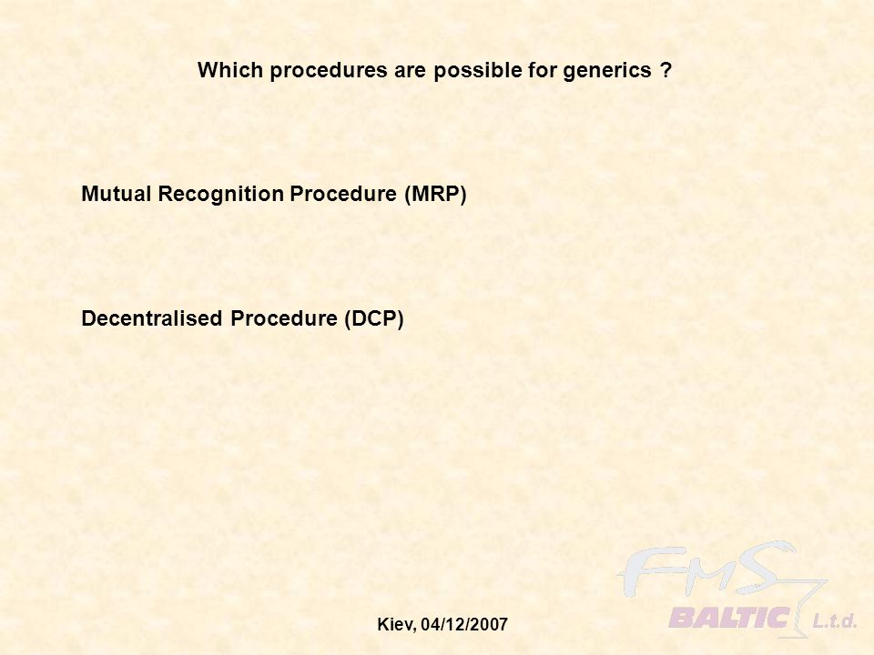 Which procedures are possible for generics