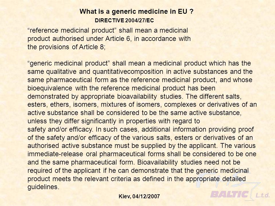 What is a generic medicine in EU