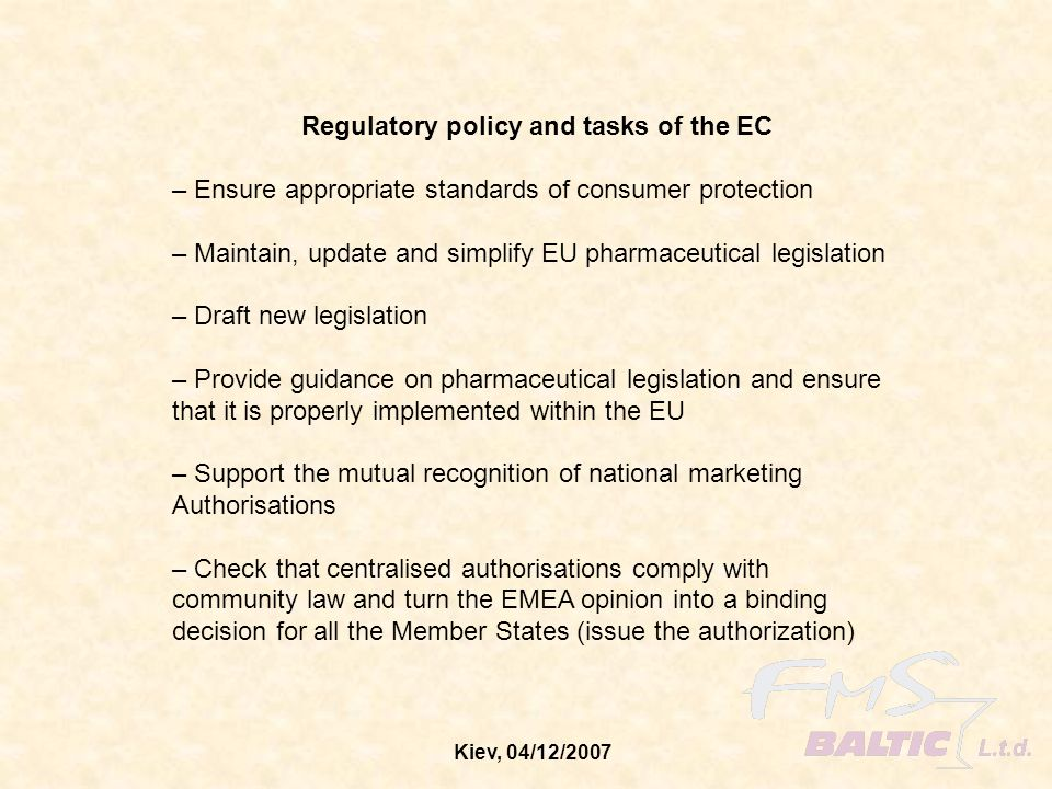 Regulatory policy and tasks of the EC