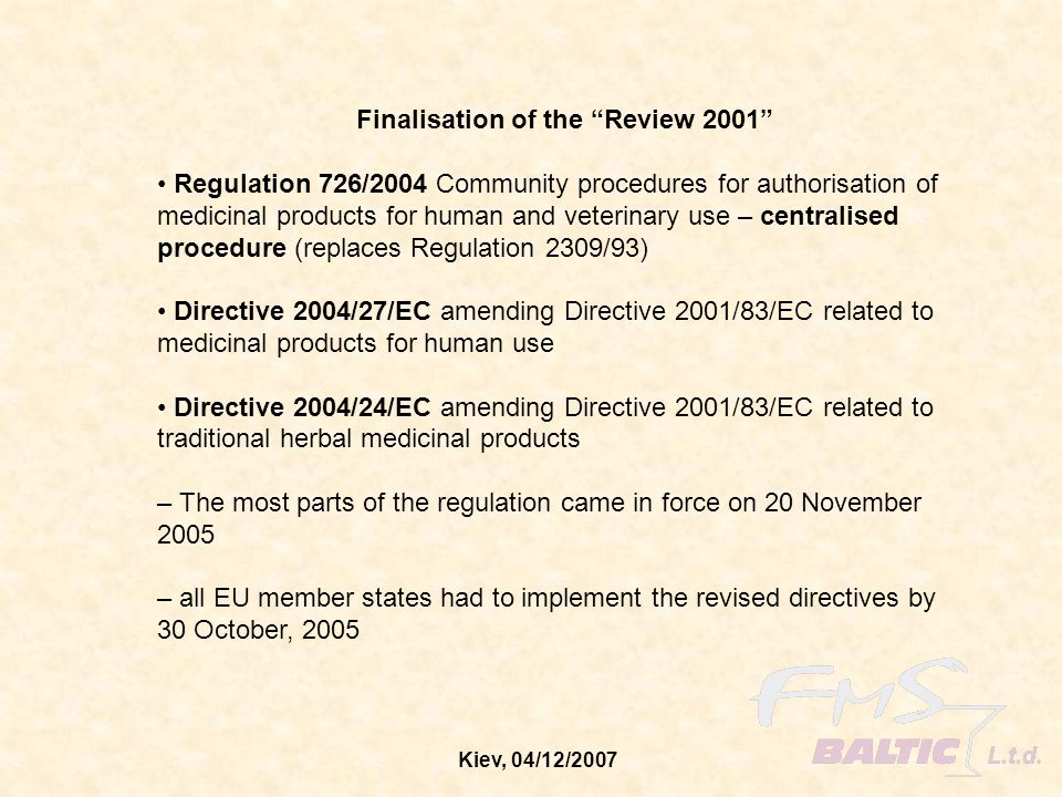 Finalisation of the Review 2001