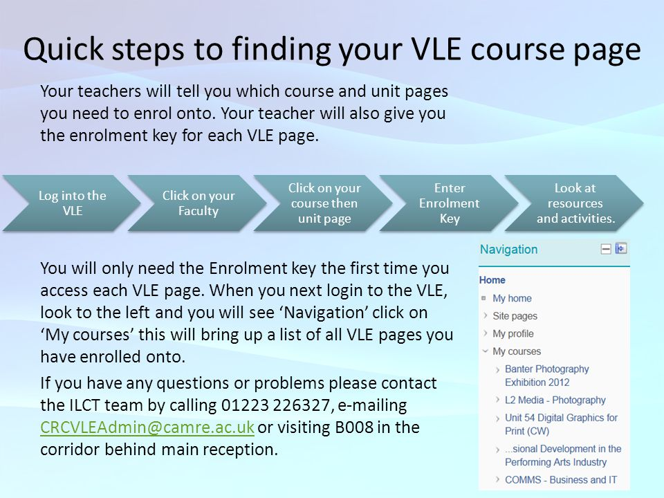 Quick steps to finding your VLE course page