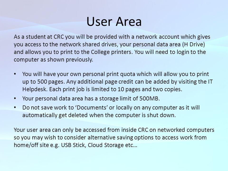 User Area