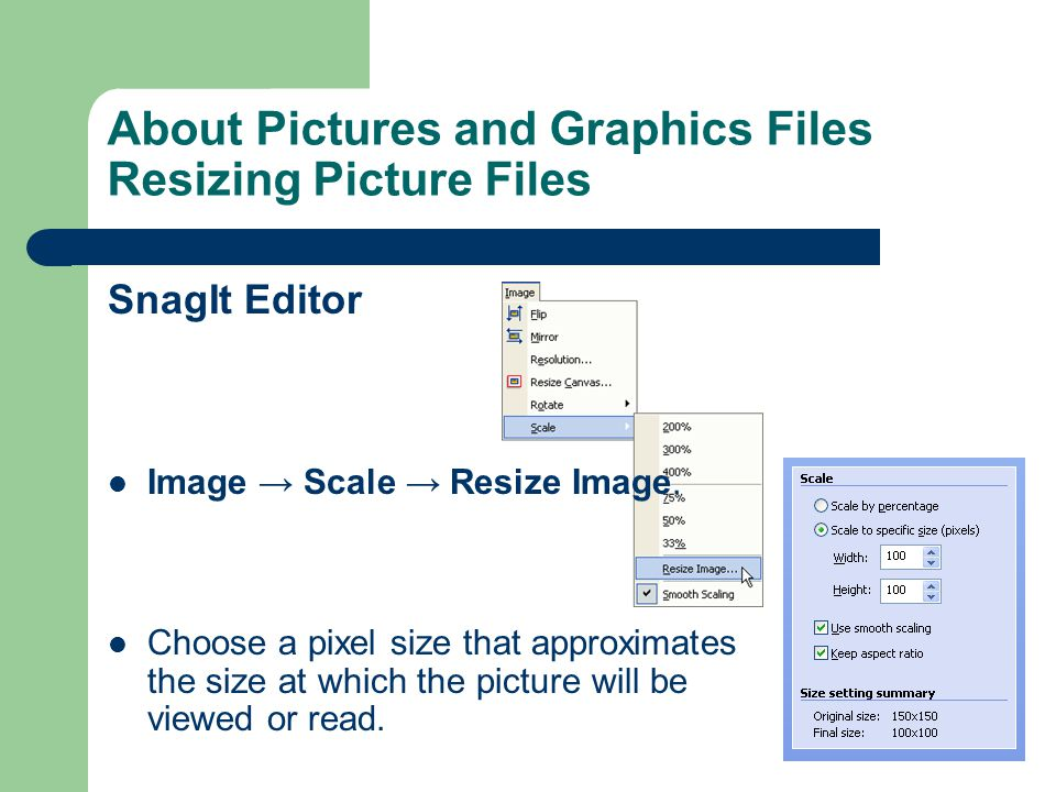 About Pictures and Graphics Files Resizing Picture Files