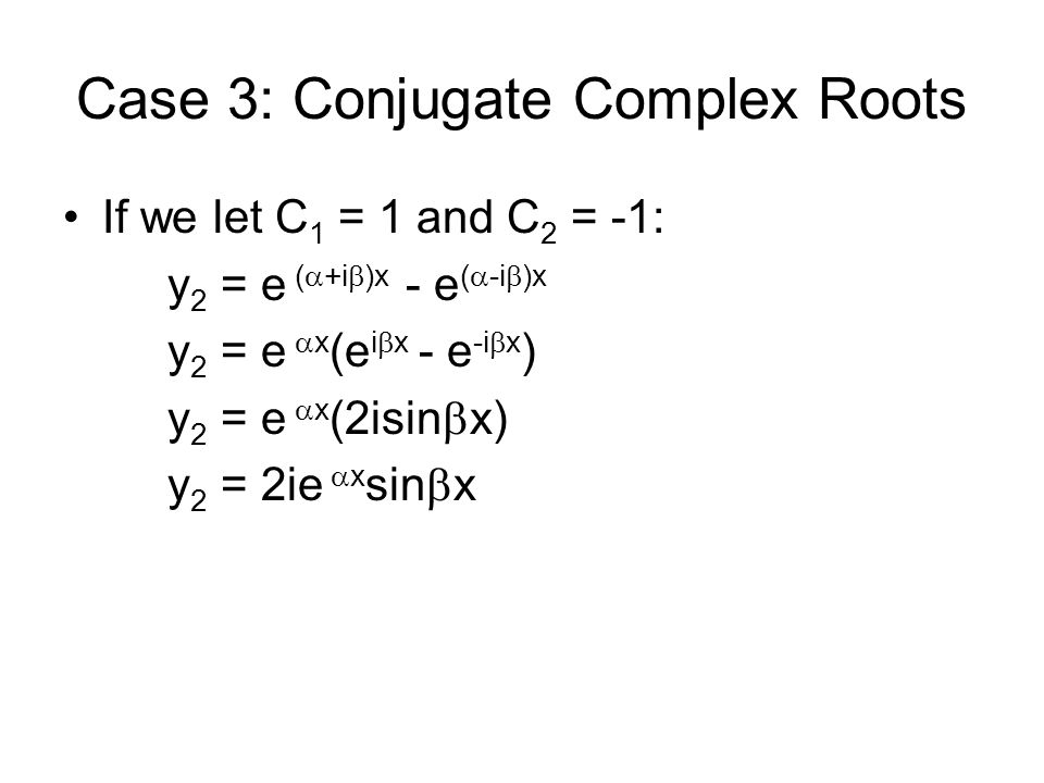 Case 3: Conjugate Complex Roots