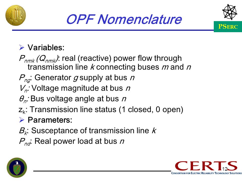 OPF Nomenclature Variables: