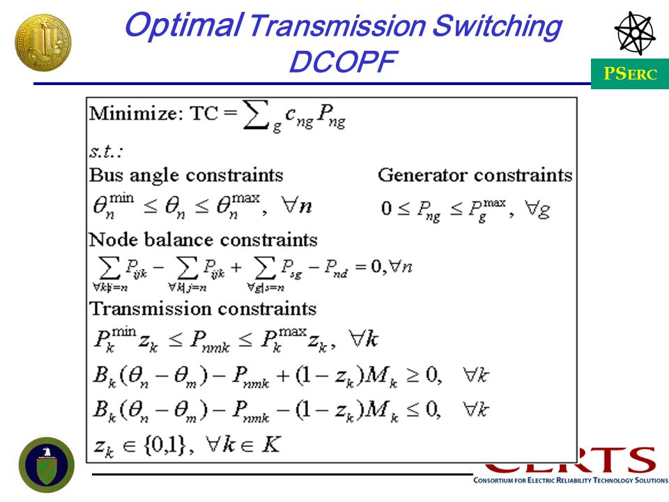 Optimal Transmission Switching DCOPF