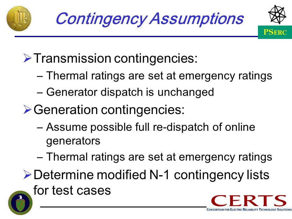 Contingency Assumptions