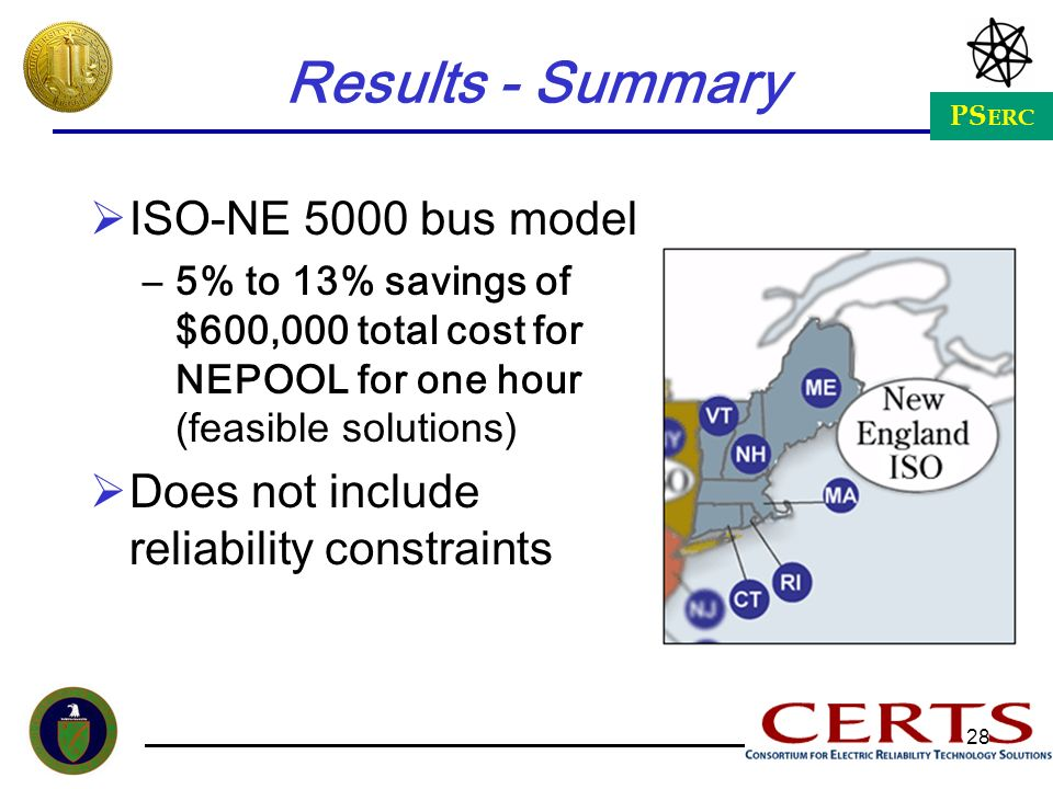 Results - Summary ISO-NE 5000 bus model