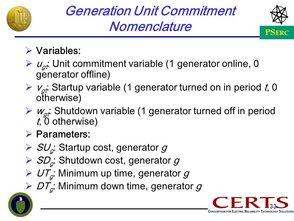 Generation Unit Commitment Nomenclature
