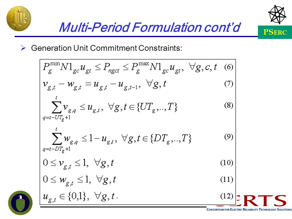 Multi-Period Formulation cont'd