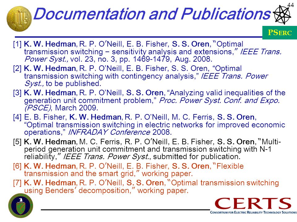 Documentation and Publications