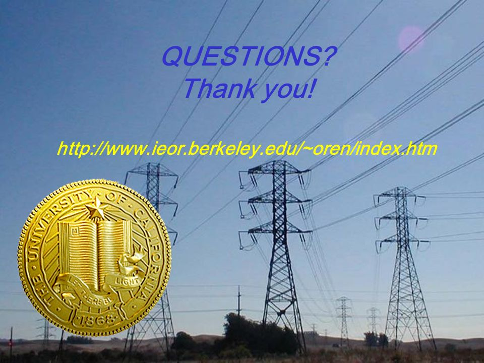 QUESTIONS Thank you! http://www.ieor.berkeley.edu/~oren/index.htm