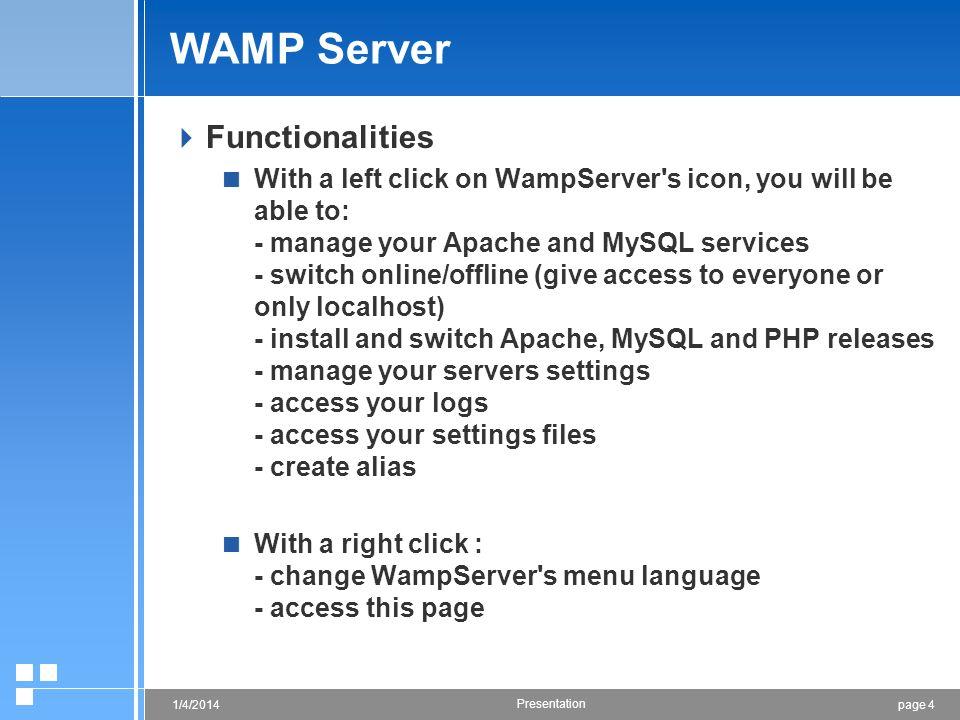WAMP Server Functionalities
