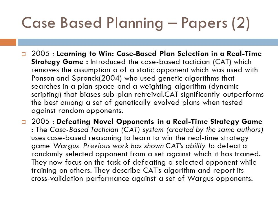 Case Based Planning – Papers (2)