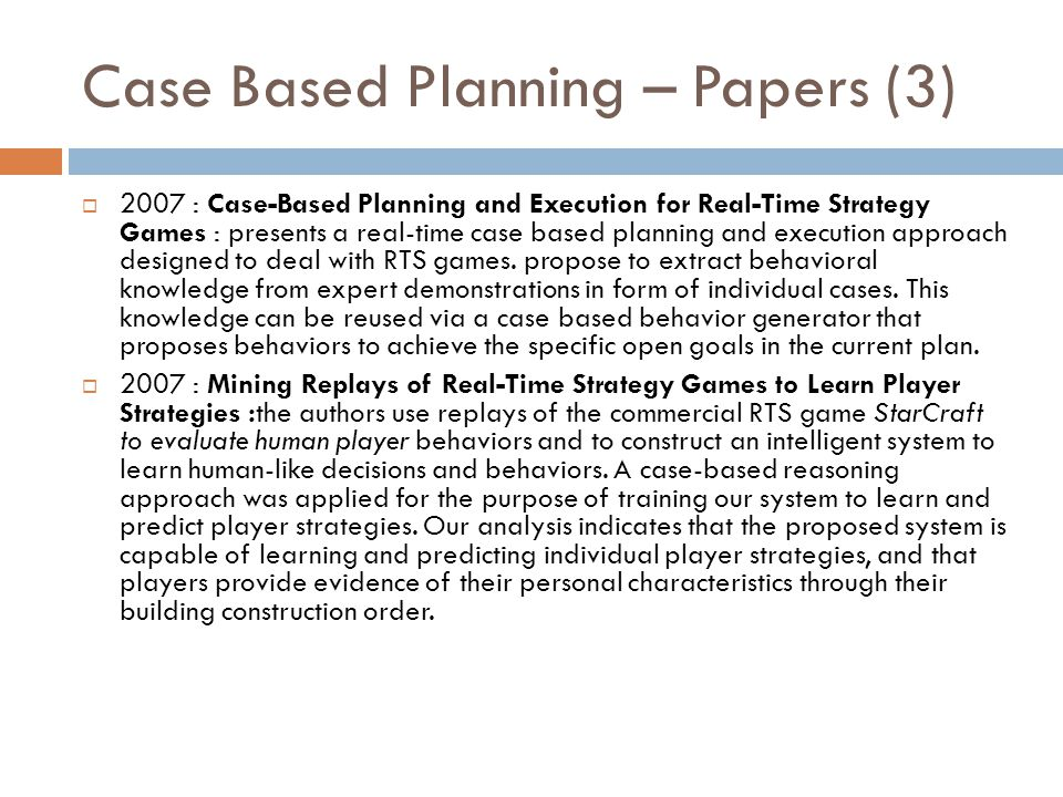 Case Based Planning – Papers (3)