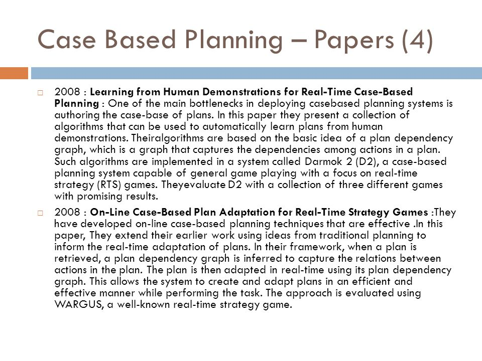 Case Based Planning – Papers (4)
