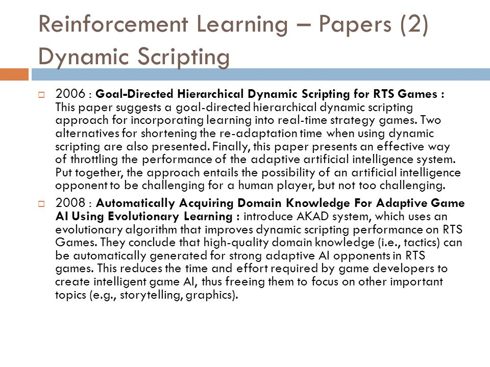 Reinforcement Learning – Papers (2) Dynamic Scripting