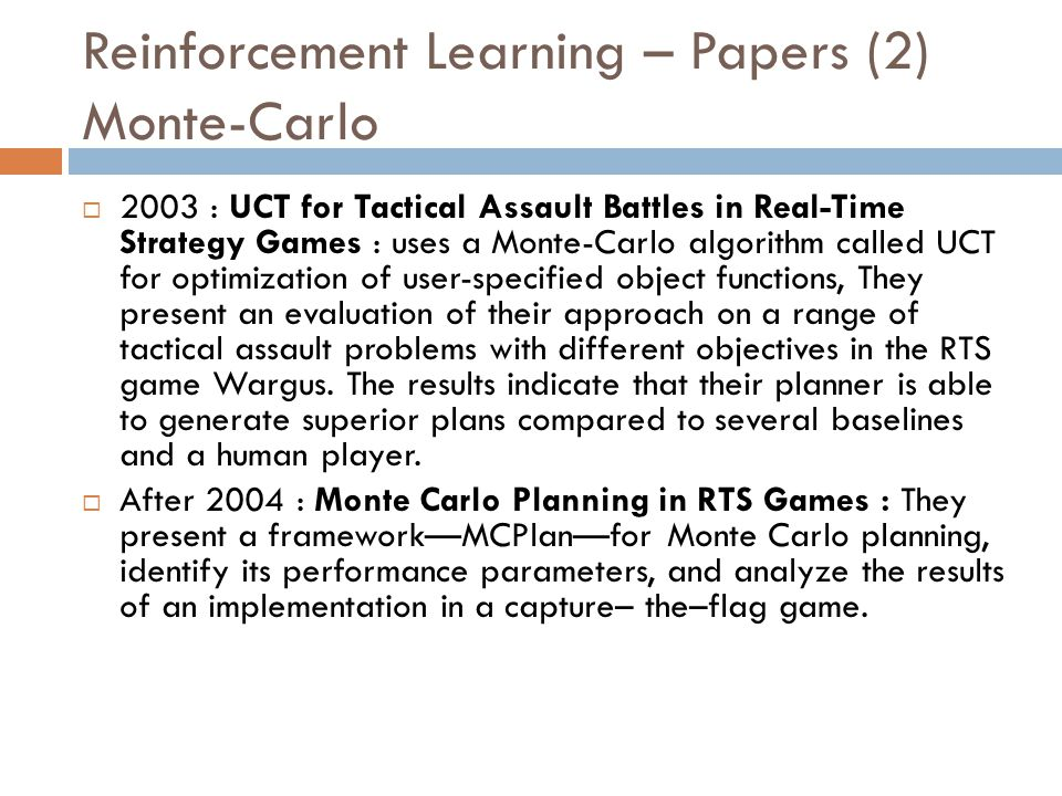 Reinforcement Learning – Papers (2) Monte-Carlo