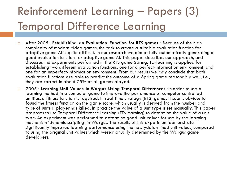 Reinforcement Learning – Papers (3) Temporal Difference Learning